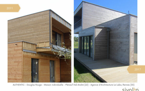 Évolution du bardage bois Douglas rouge avec la solution Authentic