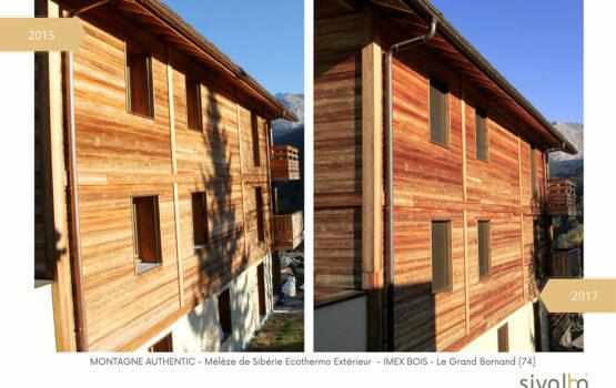 Évolution du bardage bois Mélèze de Sibérie Ecothermo Extérieur avec la solution Authentic spécial Montagne
