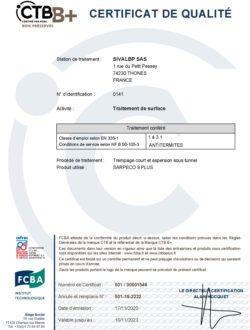 Certificat SIVALBP CTB B+ - SARPECO 9+ - 2020-2023