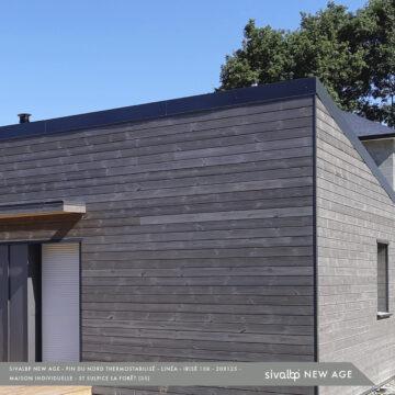 Bardage bois en Pin du Nord, gris contemporain